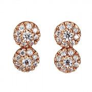 Σκουλαρίκια με Ζιργκόν Ροζ Χρυσός Κ14 - 09096
