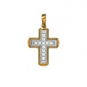 Σταυρός με Ζιργκόν Δίχρωμος Κ14 - 06094
