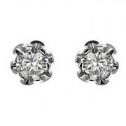 Σκουλαρίκια Μονόπετρα με Διαμάντια Λευκόχρυσος Κ18 - 063884Ε