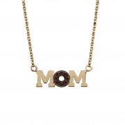 Κολιέ Mom με Ζιργκόν Χρυσός Κ14 - 03Ν354