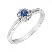 Δαχτυλίδι με Διαμάντια και Ορυκτή Πέτρα Λευκόχρυσος Κ18 - 05374
