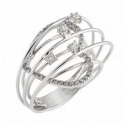 Δαχτυλίδι με Διαμάντια Λευκόχρυσος Κ18 - 0349