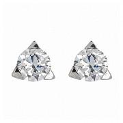 Σκουλαρίκια Μονόπετρα με Διαμάντια Λευκόχρυσος Κ18 - 06258