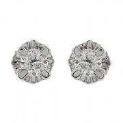 Σκουλαρίκια Μονόπετρα με Διαμάντια Λευκόχρυσος Κ18 - 06390