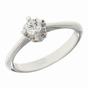 Δαχτυλίδι Μονόπετρο με Διαμάντι Λευκόχρυσος Κ18 - 06390