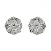 Σκουλαρίκια Μονόπετρα με Διαμάντια Λευκόχρυσος Κ18 - 063902E