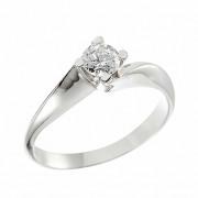 Δαχτυλίδι Μονόπετρο με Διαμάντι Λευκόχρυσος Κ18 - 06396