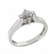 Δαχτυλίδι Μονόπετρο με Διαμάντι Λευκόχρυσος Κ18 - 06445