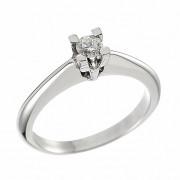 Δαχτυλίδι Μονόπετρο με Διαμάντι Λευκόχρυσος Κ18 - 07020