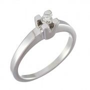 Δαχτυλίδι Μονόπετρο με Διαμάντι Λευκόχρυσος Κ18 - 090160R