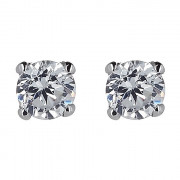 Σκουλαρίκια Μονόπετρα με Διαμάντια Λευκόχρυσος Κ18 - 31106F
