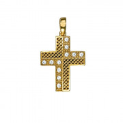 Σταυρός με Ζιργκόν Χρυσός Κ14 - 06088Y
