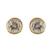 Σκουλαρίκια Μονόπετρα με Καφέ Διαμάντια Χρυσός Κ18 - 10001BR