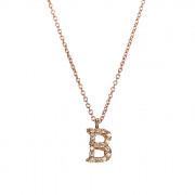 Μενταγιόν Μονόγραμμα B με Ζιργκόν Ροζ Χρυσος Κ9 - 10014REB