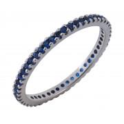 Δαχτυλίδι Ολόβερο με Μπλέ Ζιργκόν Λευκόχρυσος Κ14 - 11053BLUE