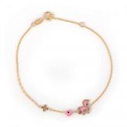 Παιδικό Βραχιόλι με Πόνι με Ροζ Σμάλτο Χρυσός Κ9 - 16073