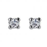 Σκουλαρίκια Μονόπετρα με Διαμάντια Λευκόχρυσος Κ18 - 31100