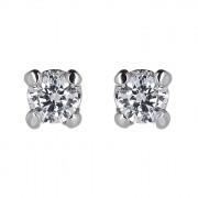 Σκουλαρίκια Μονόπετρα με Διαμάντια Λευκόχρυσος Κ18 - 31101