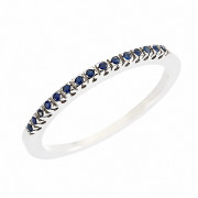 Δαχτυλίδι Μισόβερο με Ορυκτές Πέτρες Λευκόχρυσος Κ18 - 91151SA