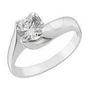 Δαχτυλίδι Μονόπετρο με Ζιργκόν Λευκόχρυσος Κ14 - 92270