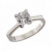 Δαχτυλίδι Μονόπετρο με Ζιργκόν Λευκόχρυσος Κ14 - 92504