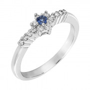 Δαχτυλίδι με Διαμάντια και Ορυκτή Πέτρα Λευκόχρυσος Κ18 - 05376