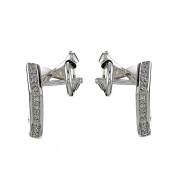 Σκουλαρίκια με Διαμάντια Λευκόχρυσος Κ18 - 04085