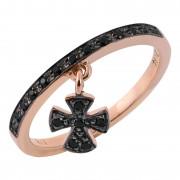Δαχτυλίδι Μισόβερο με Κρεμαστό Σταυρό Μαύρα Ζιργκόν Ροζ Χρυσός Κ9 - 16058