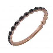 Δαχτυλίδι Μισόβερο Με Μαύρα Ζιργκόν Ροζ Χρυσός Κ9 - 16060P