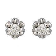 Σκουλαρίκια Μονόπετρα με Διαμάντια Λευκόχρυσος Κ18 - 06389