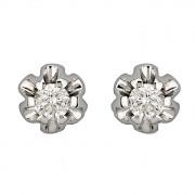 Σκουλαρίκια Μονόπετρα με Διαμάντια Λευκόχρυσος Κ18 - 063892E