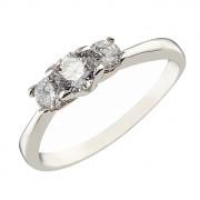 Δαχτυλίδι Μισόβερο με Ζιργκόν Λευκόχρυσος Κ14 - 07128