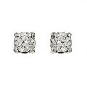 Σκουλαρίκια Μονόπετρα με Διαμάντια Λευκόχρυσος Κ18 - 09027