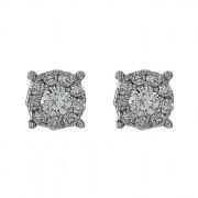 Σκουλαρίκια με Διαμάντια Λευκόχρυσος Κ18 - 10068E