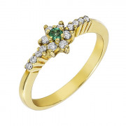 Δαχτυλίδι με Διαμάντια και Σμαράγδι Χρυσός Κ18 - 05376Y