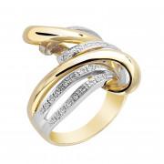 Δαχτυλίδι με Διαμάντια Δίχρωμο Κ18 - 06478Y