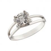 Δαχτυλίδι Μονόπετρο με Ζιργκόν Λευκόχρυσος Κ14 - 07335