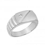 Δαχτυλίδι Ανδρικό με Ζιργκόν Λευκόχρυσος Κ14 - 92038