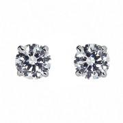 Σκουλαρίκια Μονόπετρα με Διαμάντια Λευκόχρυσος Κ18 - 090315E