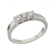 Δαχτυλίδι Μισόβερο με Διαμάντια Λευκόχρυσος Κ18 - 11377
