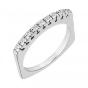 Δαχτυλίδι Μισόβερο με Διαμάντια Λευκόχρυσος Κ18 - 91036