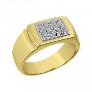 Δαχτυλίδι Ανδρικό με Ζιργκόν Δίχρωμο Κ14 - 92042