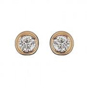 Σκουλαρίκια Μονόπετρα με Διαμάντια Ροζ Χρυσός Κ18 - 10000