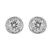 Σκουλαρίκια Μονόπετρα με Διαμάντια Λευκόχρυσος Κ18 - 100001
