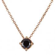 Μονόπετρο Μενταγιόν με Μαύρο Διαμάντι Ροζ Χρυσός Κ18 - 09031BL