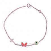 Παιδικό Βραχιόλι Πεταλούδα με Σταυρό Ροζ Χρυσός Κ9 - 03Β511R