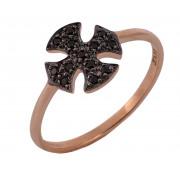 Δαχτυλίδι Σταυρός με Μαύρα Ζιργκόν Ροζ Χρυσός Κ9 - 16057