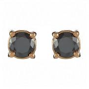 Σκουλαρίκια Μονόπετρα με Μαύρα Διαμάντια Ροζ Χρυσός Κ18 - 09031E