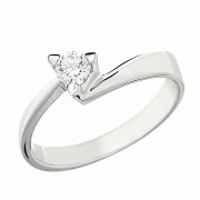 Δαχτυλίδι Μονόπετρο με Διαμάντι Λευκόχρυσος Κ18 - 06258