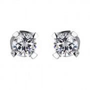 Σκουλαρίκια Μονόπετρα με Διαμάντια Λευκόχρυσος Κ18 - 063934E